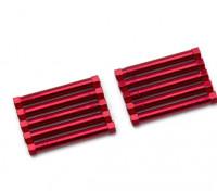 Ligera Ronda de aluminio Sección espaciador M3x38mm (rojo) (10 piezas)
