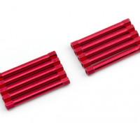 Ligera Ronda de aluminio Sección espaciador M3x45mm (rojo) (10 piezas)