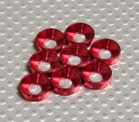 Avellanado Lavadora anodizado de aluminio M5 (rojo) (8pcs)