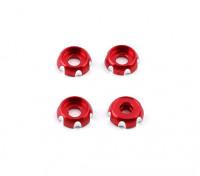 3 mm de aluminio CNC cabeza redonda Lavadora - rojo (4pcs)