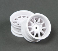 Ride 1/10 Mini 10 radios de la rueda de 4 mm Offset - Blanco (2 unidades)