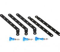Montaje ajustable de aluminio fijado para GoPro O Turnigy Acción levas (Azul / Negro)