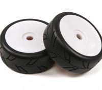 1/8 Escala ruedas del blanco Plato Pro con neumáticos Slick estilo Semi (2pc)