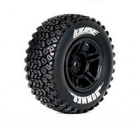 Neumáticos LOUISE SC-HUMMER 1/10 escala traseras del camión Compuesto suave / Negro Borde / Mounted