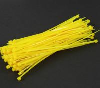 Sujetacables de 150 mm x 3 mm amarillas (100 piezas)
