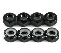 De aluminio de perfil bajo Nyloc Tuerca M5 Black (CW) 8pcs