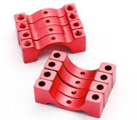 Rojo anodizado CNC semicírculo aleación de tubo de sujeción (incl.screws) 14mm