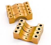 El oro anodizado CNC semicírculo aleación de tubo de sujeción (incl.screws) 12mm