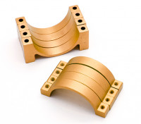 El oro anodizado CNC semicírculo aleación de tubo de sujeción (incl.screws) 30mm