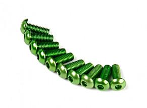7075 Alu. cabeza redonda M3 tornillo verde 8mm