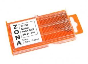 Zona 20pc alta velocidad Conjunto Fresa espiral (.3mm-1.5mm)
