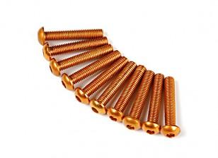 7075 Alu. M3 Ronda de oro cabeza del tornillo de 16 mm