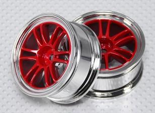 Escala 1:10 Juego de ruedas (2pcs) Rojo / Chrome de Split y 6 Rayos 26mm RC Car (sin desplazamiento)