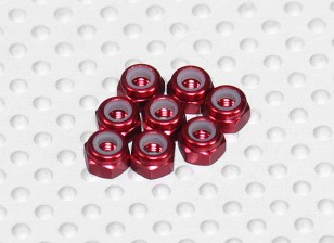 Aluminio anodizado M3 Tuercas Nylock rojos (8pcs)
