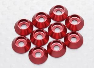 Sockethead arandela de aluminio anodizado M3 (rojo) (10 piezas)