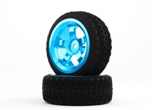 HobbyKing 1/10 de aluminio de 5 rayos de la rueda 12 mm Hex (azul) / W 26mm Neumático (2pcs / bolsa)