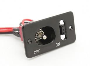 Medio del cableado del interruptor de servicio de metales Futaba / JR con construido en el zócalo de carga