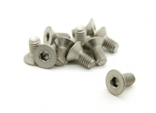 Titanio M3 x 6 avellanada hexagonal del tornillo (10pcs / bag)