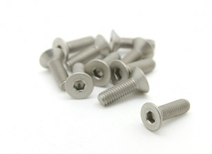 Titanio M3 x 10 mm avellanada hexagonal del tornillo (10pcs / bag)
