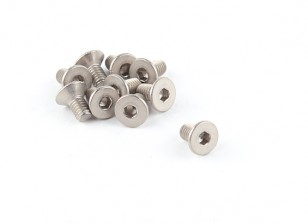 Titanio M4 x 8 avellanada hexagonal del tornillo (10pcs / bag)