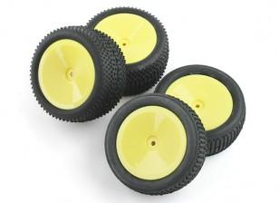Delantero y trasero completo de neumáticos Set (4pcs) - BSR Racing BZ-222 1/10 2WD Buggy Racing