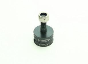 CNC de aluminio M6 lanzamiento rápido de auto-apriete Prop Conjunto adaptador - titanio (en sentido horario)