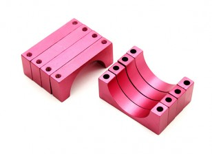 Rojo anodizado doble 6mm Sided CNC de aluminio tubo de sujeción 20 mm de diámetro (juego de 4)