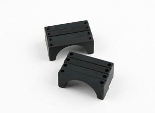 Negro anodizado de doble cara CNC de aluminio tubo de sujeción 25 mm Diámetro