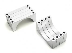 Plata anodizado doble 6mm Sided CNC de aluminio tubo de sujeción 30 mm Diámetro (juego de 4)