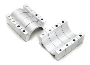 Plata anodizado CNC de aluminio tubo de sujeción 22 mm de diámetro (juego de 4)