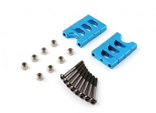 Azul anodizado de doble cara CNC de aluminio tubo de sujeción 10 mm Diámetro