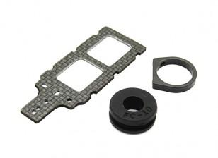 Transmisor de montaje de carbono FPV con caucho amortiguador se adapta a 10mm Plumas