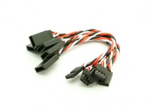 10cm Futaba 22 AWG trenzado de cables de extensión L a V 5pcs