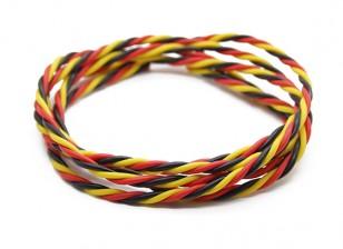Trenzado 22 AWG Servo cable rojo / Negro / Amarillo (1mtr)