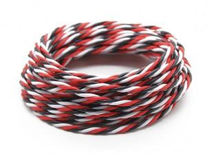 Trenzado 22 AWG Servo cable rojo / Negro / Blanco (5mtr)