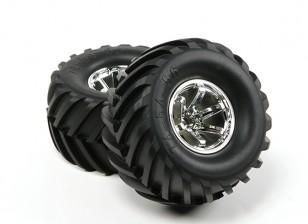 HobbyKing ® ™ 1/10 sobre orugas de 135 mm y Monster Truck rueda y del neumático (llanta de plata) (2pcs)
