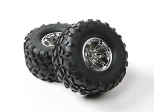 HobbyKing ® ™ 1/10 sobre orugas 132 mm ruedas y Llantas (plata Borde) (2 unidades)