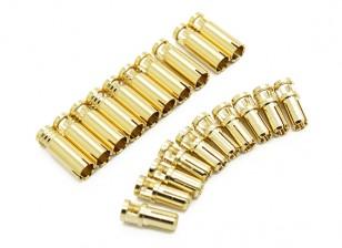 Conectores de bala 4mm Supra X de oro (10 pares)