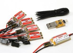 KINGKONG 12A OPTO ESC BLHeli (2-4S) (4pcs) Combo Pack w / UBEC y el adaptador de Programación