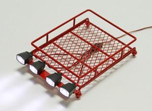 1/10 Roof Rack (rojo) con focos Oval