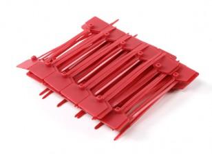 Sujetacables de 120 mm x 3 mm con marcador rojo Tag (100pcs)