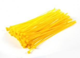 Sujetacables de 200 mm x 4 mm amarillas (100 piezas)