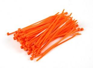 Sujetacables de 150 mm x 4 mm de naranja (100 piezas)