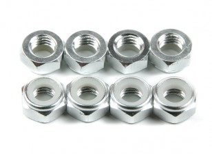 De aluminio de perfil bajo Nyloc Tuerca M5 plata (CCAC) 8pcs