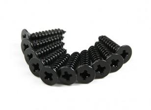 Screw Flat Head Phillips M3x12mm Self Tapping Steel Black (10pcs)