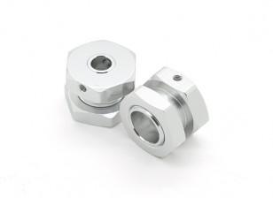 GPM Racing ROADTECH Alu. Adaptador hexagonal de la rueda 12 mm a 17 mm, 7 mm Offset w / 17mm tuerca de seguridad (plata) (2pcs)
