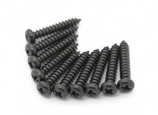 Screw Round Head Phillips M2.6x14mm Self Tapping Steel Black (10pcs)