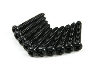 Screw Round Head Phillips M2.6x18mm Self Tapping Steel Black (10pcs)