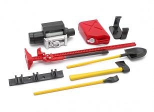 1/10 escala Defender Juego de accesorios con el maniquí del cabrestante - Rojo