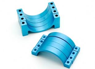 Azul anodizado CNC semicírculo aleación de tubo de sujeción (incl.screws) 22mm